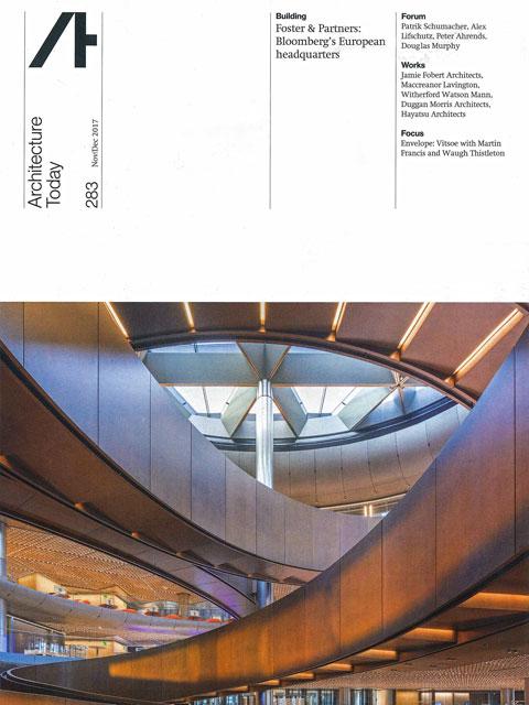 菊川の社名がブロンズ製品提供者として掲載された「Architecture Today」#283の表紙