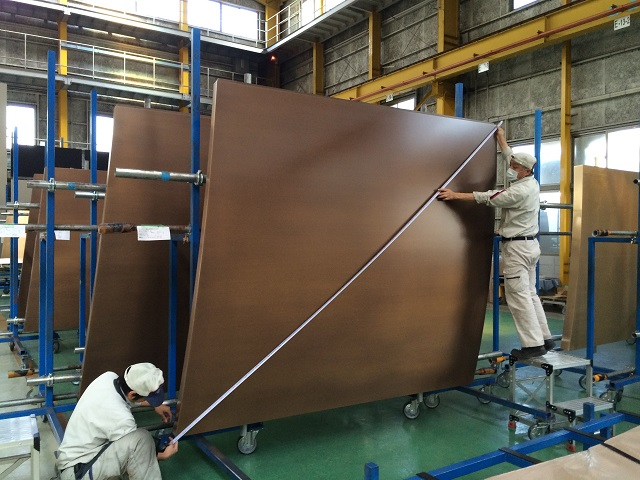 Honeycomb backed curved bronze panels 4