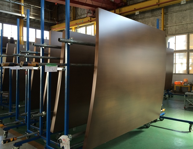 Honeycomb backed curved bronze panels 5