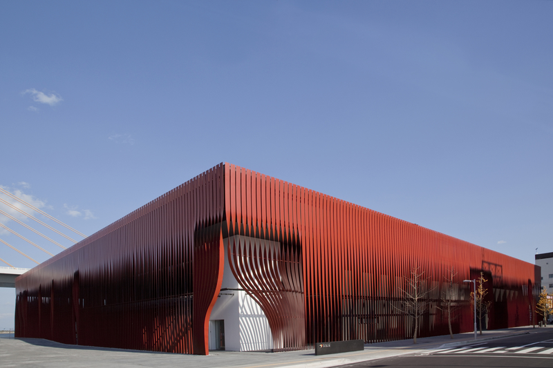 A design inspired by a red curtain, implemented with steel