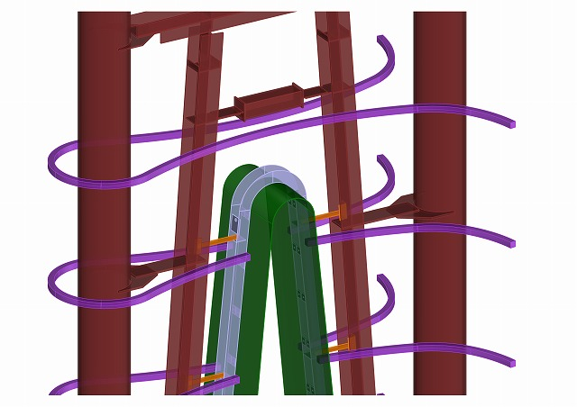The connecting areas are checked within the 3D model (steel arch shown in green)
