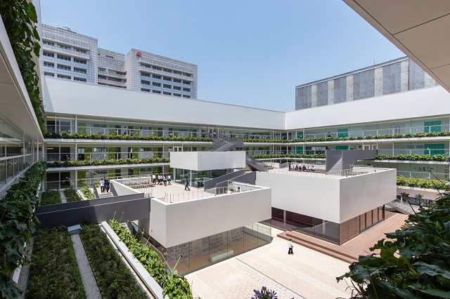 Each face of the building within this courtyard is installed as a single panel