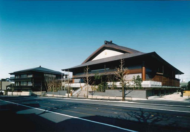 Rissho Kosei-kai, Kyoto. From the right, the service building, central building, and the meeting building.