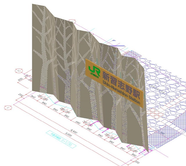 A 3D model of the facade screen
