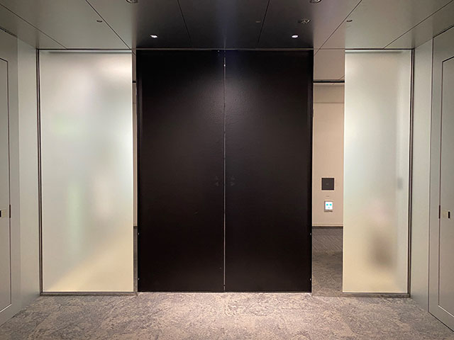 The automatic pull door with Tsuchime (hammertone) finish