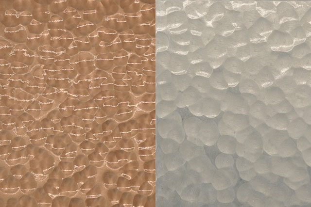 Tsuchime (hammertone) finish samples. (Left: bronze, right: aluminium)