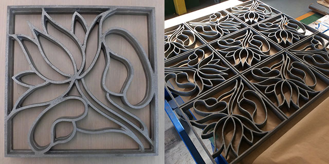 Left: Sample lotus flower casting. Right: The standard pattern of casting placed together