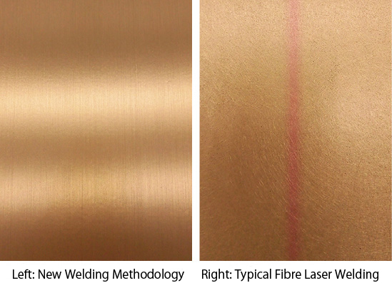 Left: Welded bronze with the new methodology. Right: Typical bronze welding with fibre laser. The red heat tint is visible.