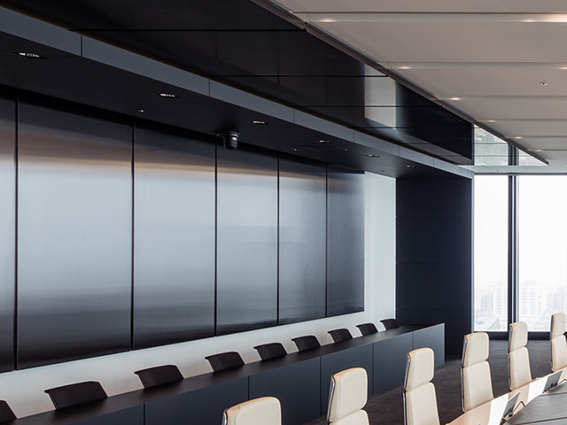 Black sputtered stainless steel wall and ceiling panels