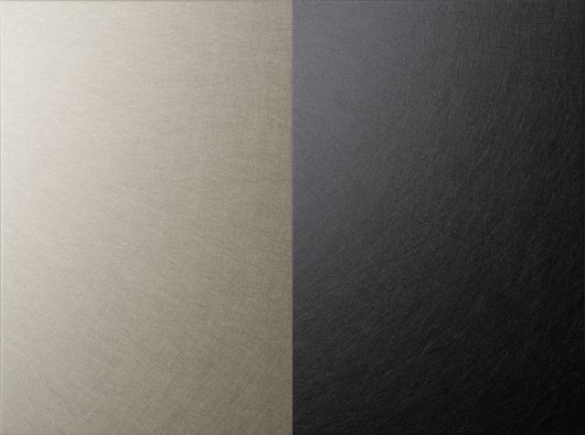 Vibration, anodized and electrolytic coloured aluminium (Left: D-PHL-E2. Right: D-PHL-E5)