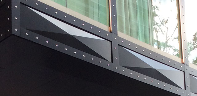 A sophisticated facade with rectangular pyramid screening panel