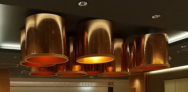 The bronze Tsuchime (hammertone) patterned lampshade