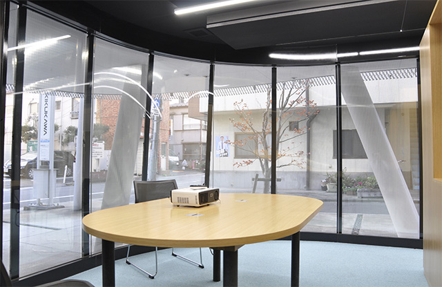 Visibility is ensured with the glass-walls and perforated stainless steel