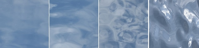 """▲Comparison with existing standard Minamo panel patterns (Images taken outdoors with panels reflecting the sky) From left to right: R-1 """"Odayaka"""", R-2 """"Yuragi"""", R-3""""Sazanami"""", P-1 """"Seseragi"""""""