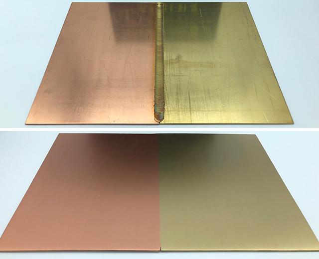 異種金属(銅と真鍮)をFSWで接合したサンプル