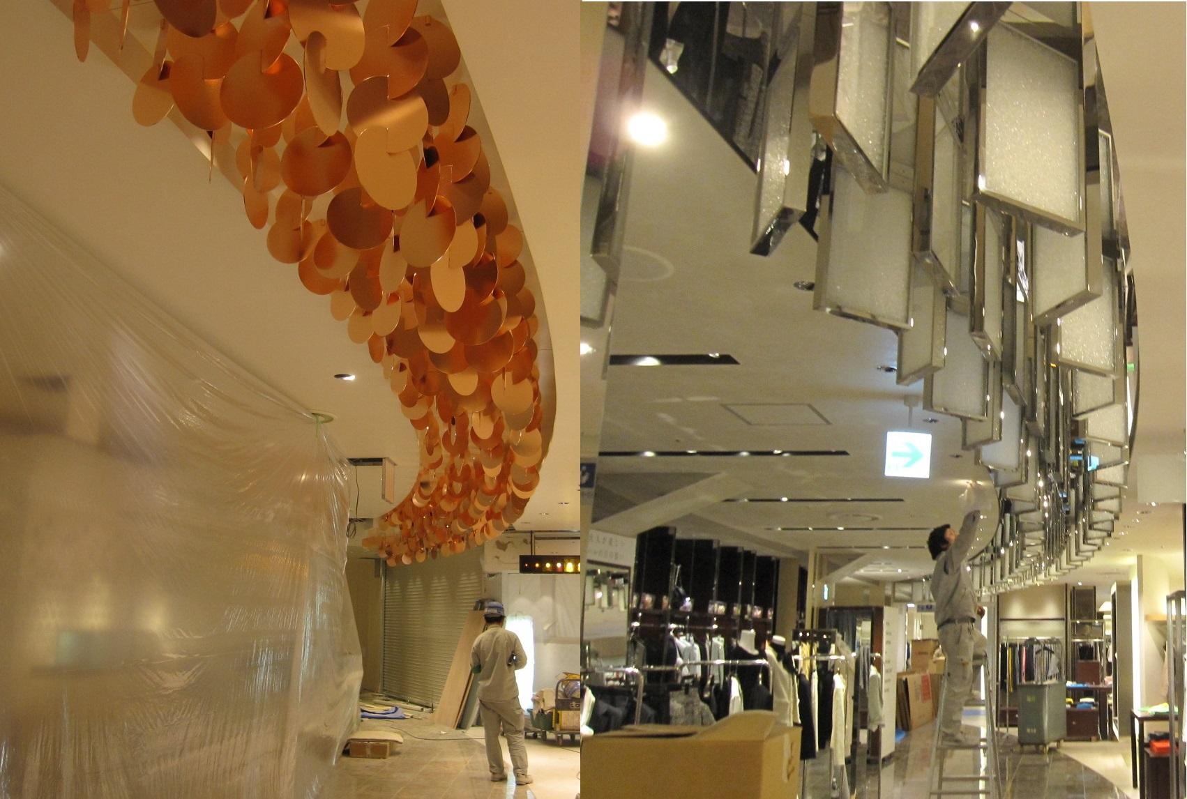 店舗内装改修の様子:天井装飾金物