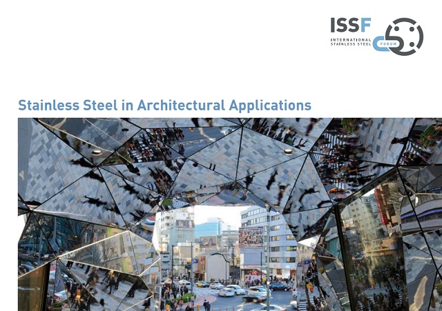 「Stainless Steel in Architectural Applications」Vol.5の表紙を東急プラザ表参道原宿の万華鏡パネルが飾っている
