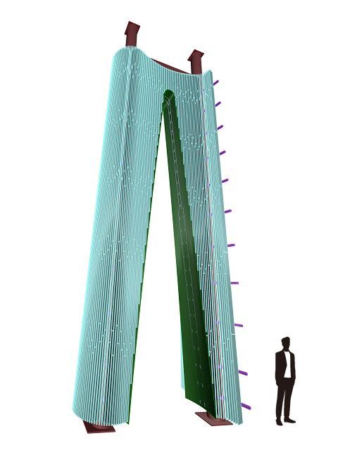 製作したスチールの放物線型のアーチの3Dモデルと、約170cmの男性シルエット。製品の大きさが伺えます