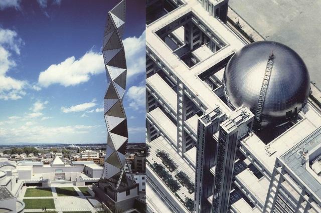チタンパネル採用の代表ランドマーク(左:水戸芸術タワー・右:フジテレビ本社ビル)