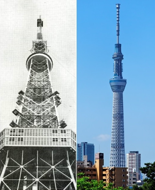 両タワーとも展望台パネルを製作施工している(左:東京タワー・右:東京スカイツリー)