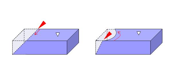 ファイバーレーザー切断機によるテーパー切断加工の例。直線に加えて、曲線でも行える