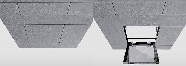 みえない点検口天井システム 左:閉じた状態 右:開いた状態 閉じた状態では、パネルと一体で、点検口だと判からない
