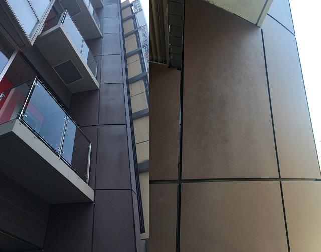 錆風塗装を施した緩Rカットパネル
