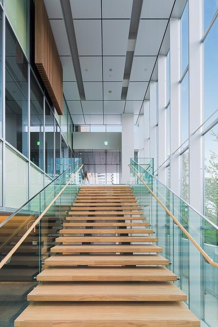 L字型階段の踊り場を曲がると見える光景。