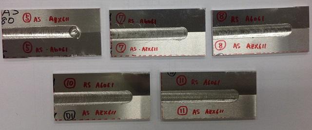 様々な管理条件で難燃性マグネシウムとアルミニウム合金をFSWで接合したテストピース