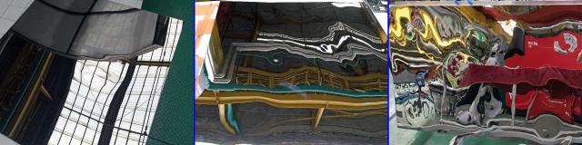 エンボス加工テストピース。左から凹凸加工可否の精査、凹凸度合いの精査、大板でのテスト写真。