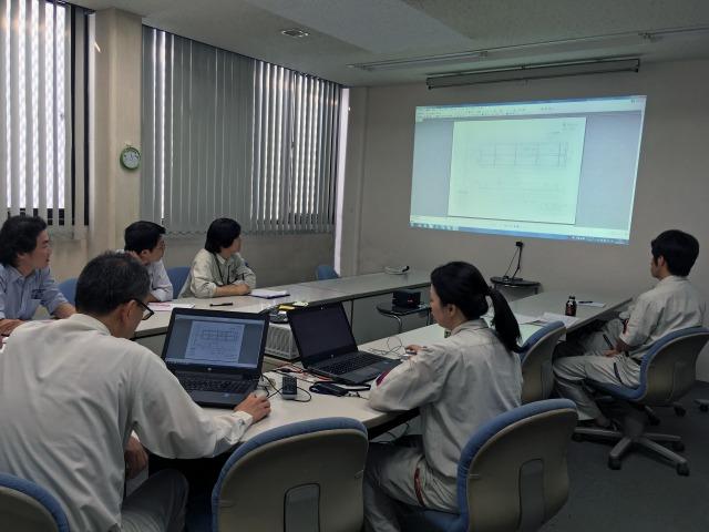来日しているKCCの社員、菊川の社員との間で、毎週行っている会議の様子。
