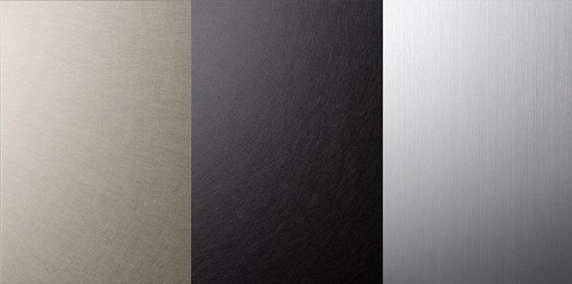 左-ハードPHL+シャンパンゴールドアルマイト 中-ハードPHL+ブラックアルマイト 右-ハードHL+シルバーアルマイト