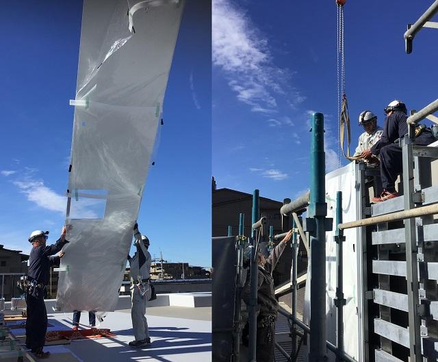 約6mの大型アルミ外装パネルの施工の様子