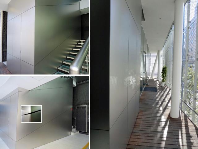 KIKUKAWAグループ東京オフィスのステンレス壁