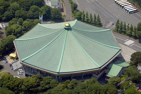 日本武道館の屋根。上から見るとなだらかに広がる形状が分かりやすい