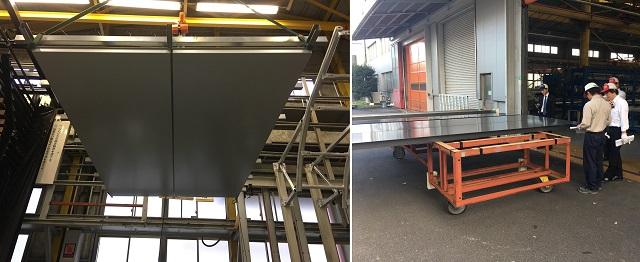 アルミ軒天井パネル(左)とアルミ柱型パネル(右)の検査の様子