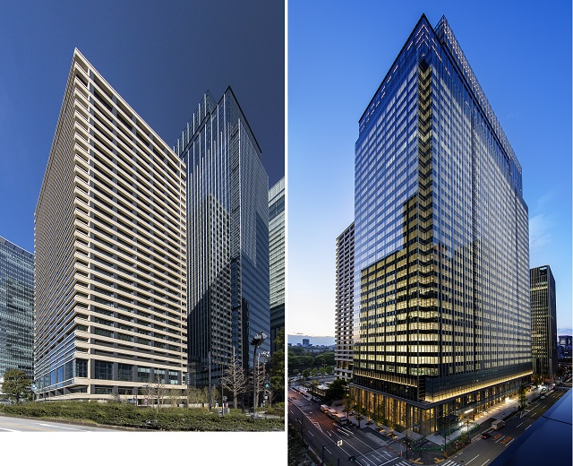 「Otemachi One」の三井物産ビル(左)とOtemachi Oneタワー(右):低層部をメインに金属工事に参画している