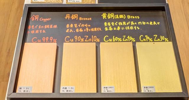色味の違う4種類のブロンズサンプル