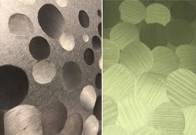 キシャゲ仕上げ(左:PHL研磨ベースのアルミ、右:真鍮)