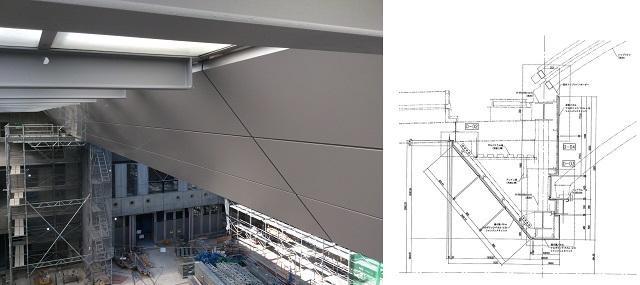 左:既存トップライトと取り合うアルミ複合板パネルにてリニューアルした梁パネル 右:アルミ複合板梁パネルの断面図