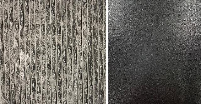 左:ビシャンライン模様の鋳物に黒特殊塗装 右:ビーズ模様鋳物に黒塗装