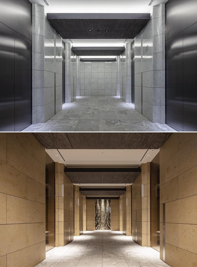 趣の異なるEVホールに同じキャスト下り天井を配置している